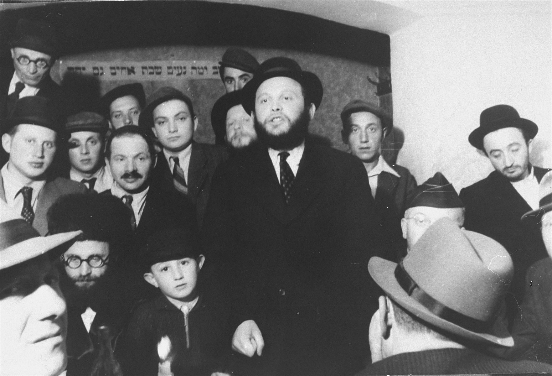 A group of religious Jews at a ceremony in the Zeilsheim DP camp.
