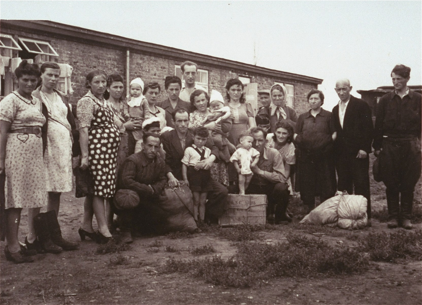Portait of the first group of DPs to arrive at the Zeilsheim displaced persons' camp.