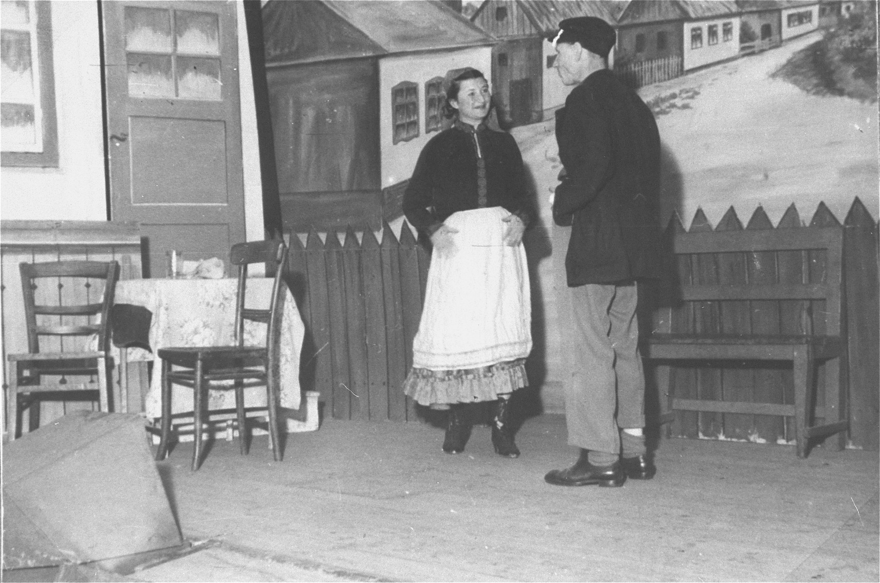 A theatrical troupe in performs in the Zeilsheim displaced persons' camp.
