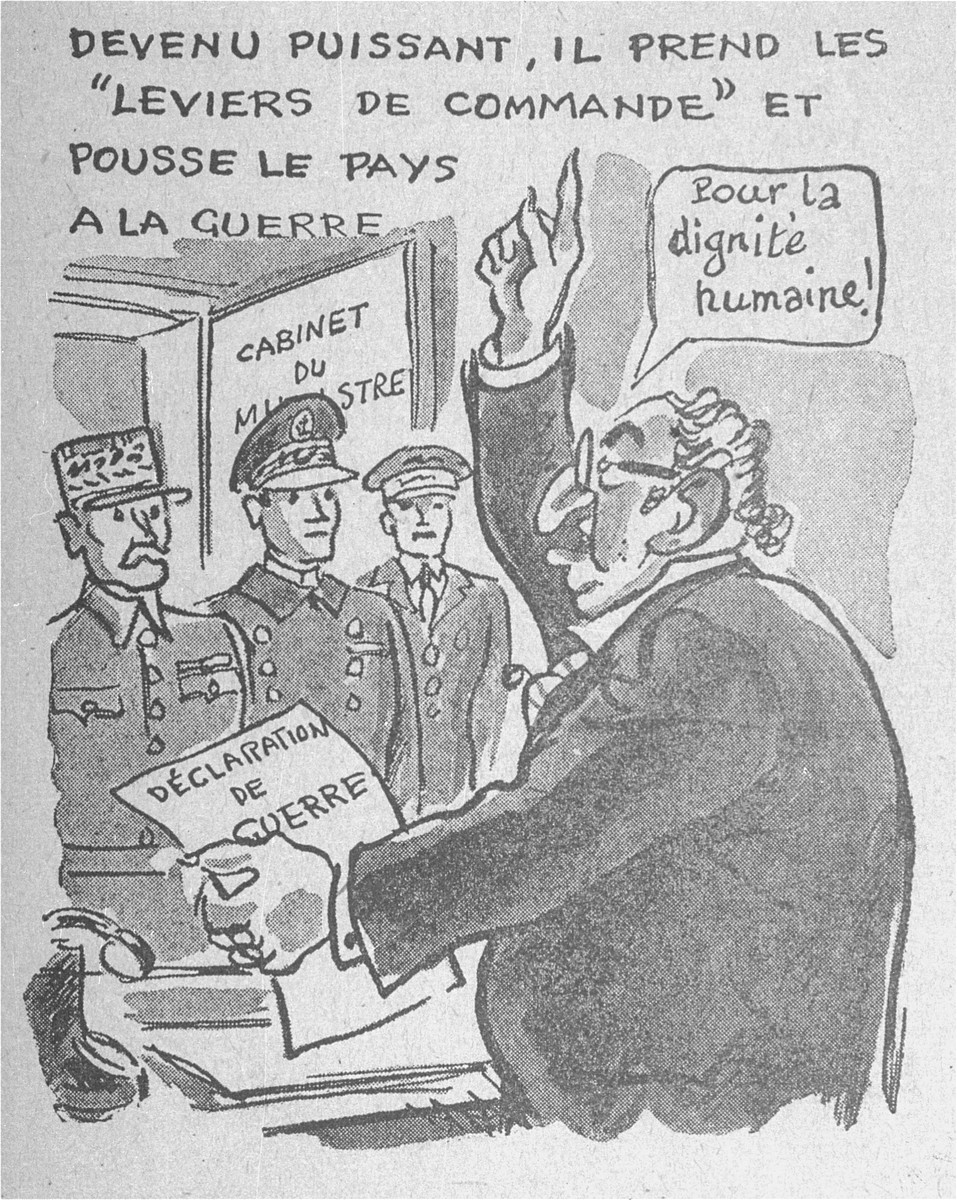 """""""One of a series of cartoons from a French language, anti-Jewish pamphlet entitled, """"The Canker Which Corroded France,"""" published by the Institute for the Study of Jewish Questions in Paris.  This page is entitled: Becoming powerful, he grabs the reins of command and pushes the country towards war."""""""
