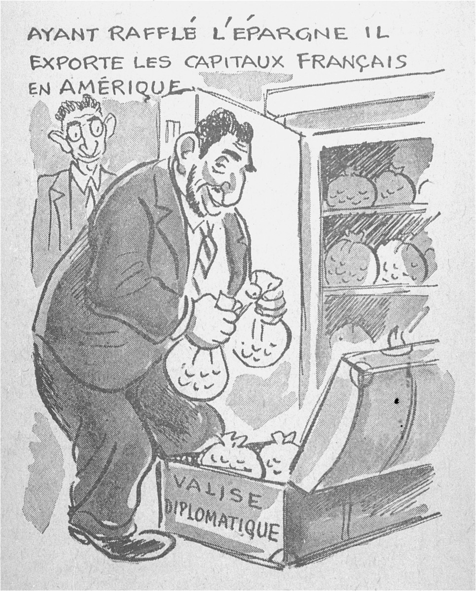 "One of a series of cartoons from a French language, anti-Jewish pamphlet entitled, ""The Canker Which Corroded France,"" published by the Institute for the Study of Jewish Questions in Paris.  This page is entitled: ""Running off with the savings, he exports French money to America."""