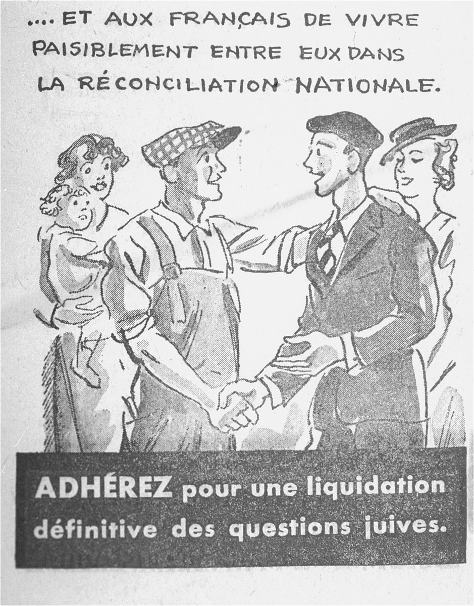 "Last of a series of cartoons from a French language, anti-Jewish pamphlet entitled, ""The Canker Which Corroded France,"" published by the Institute for the Study of Jewish Questions in Paris.  This page is entitled: ""...and will permit the French people to live peaceably with each other in national reconciliation. Adhere to a final liquidation of the Jewish Questions."""