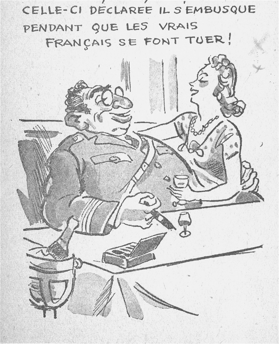 "One of a series of cartoons from a French language, anti-Jewish pamphlet entitled, ""The Canker Which Corroded France,"" published by the Institute for the Study of Jewish Questions in Paris.  This page is entitled: ""He announces he will take up his position while the true Frenchman are being killed!"""