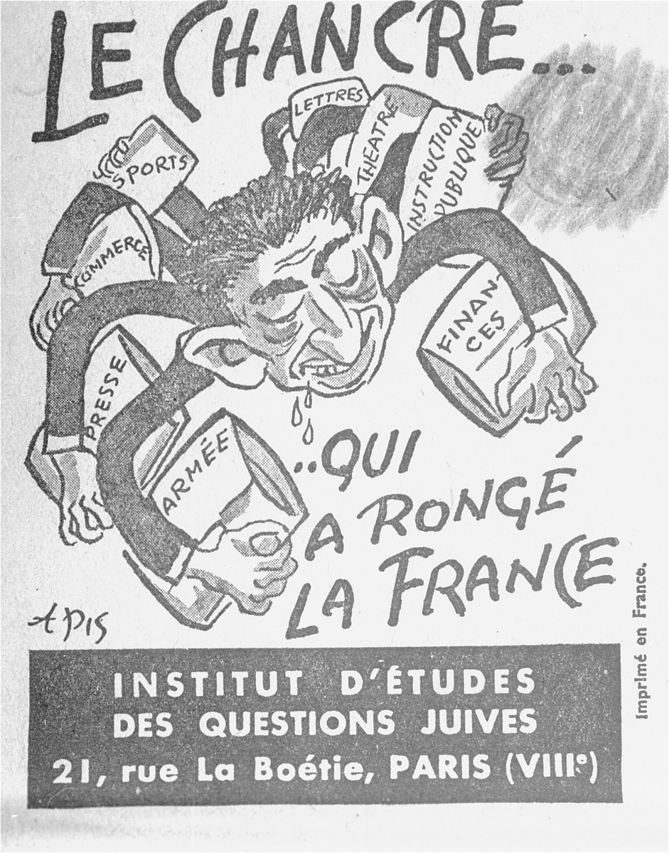 "Cover of a French language, anti-Jewish pamphlet entitled, ""The Canker Which Corroded France,"" published by the Institute for the Study of Jewish Questions in Paris."