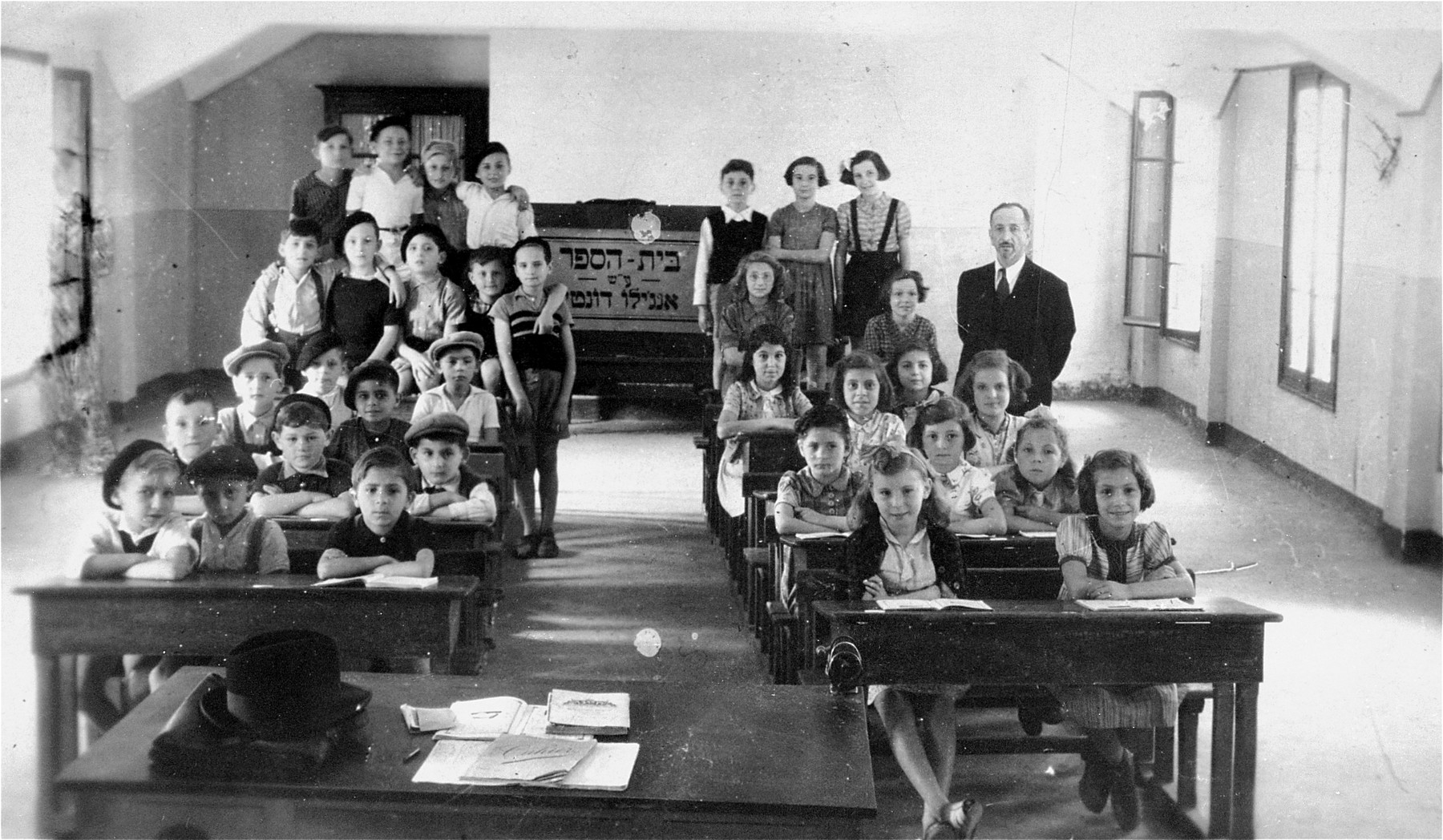 Pupils of the Angelo Donatti school in Italian-occupied Saint-Martin-Vesubie near Nice.