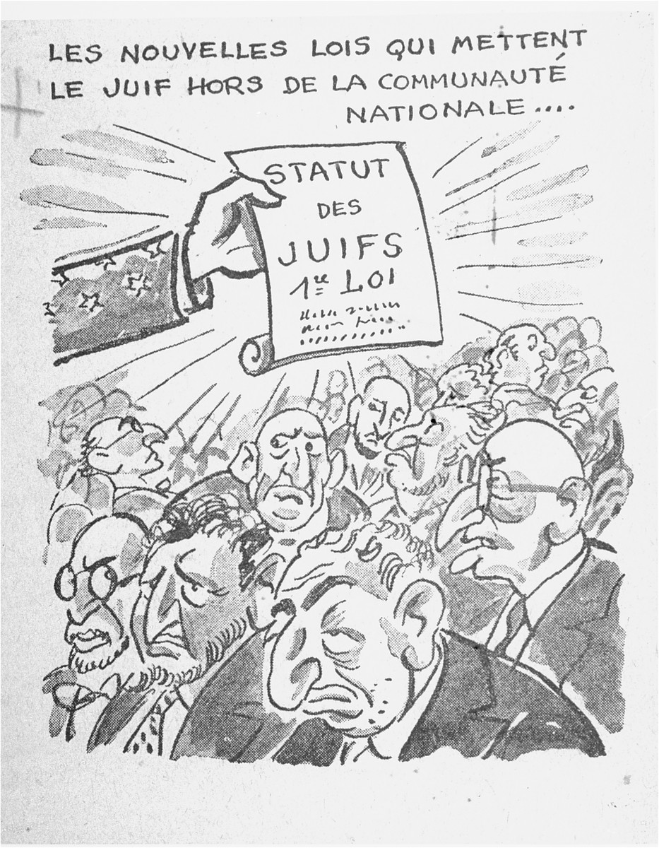 "One of a series of cartoons from a French language, anti-Jewish pamphlet entitled, ""The Canker Which Corroded France,"" published by the Institute for the Study of Jewish Questions in Paris.  This page is entitled: ""The new laws which put the Jews out of the national community..."""