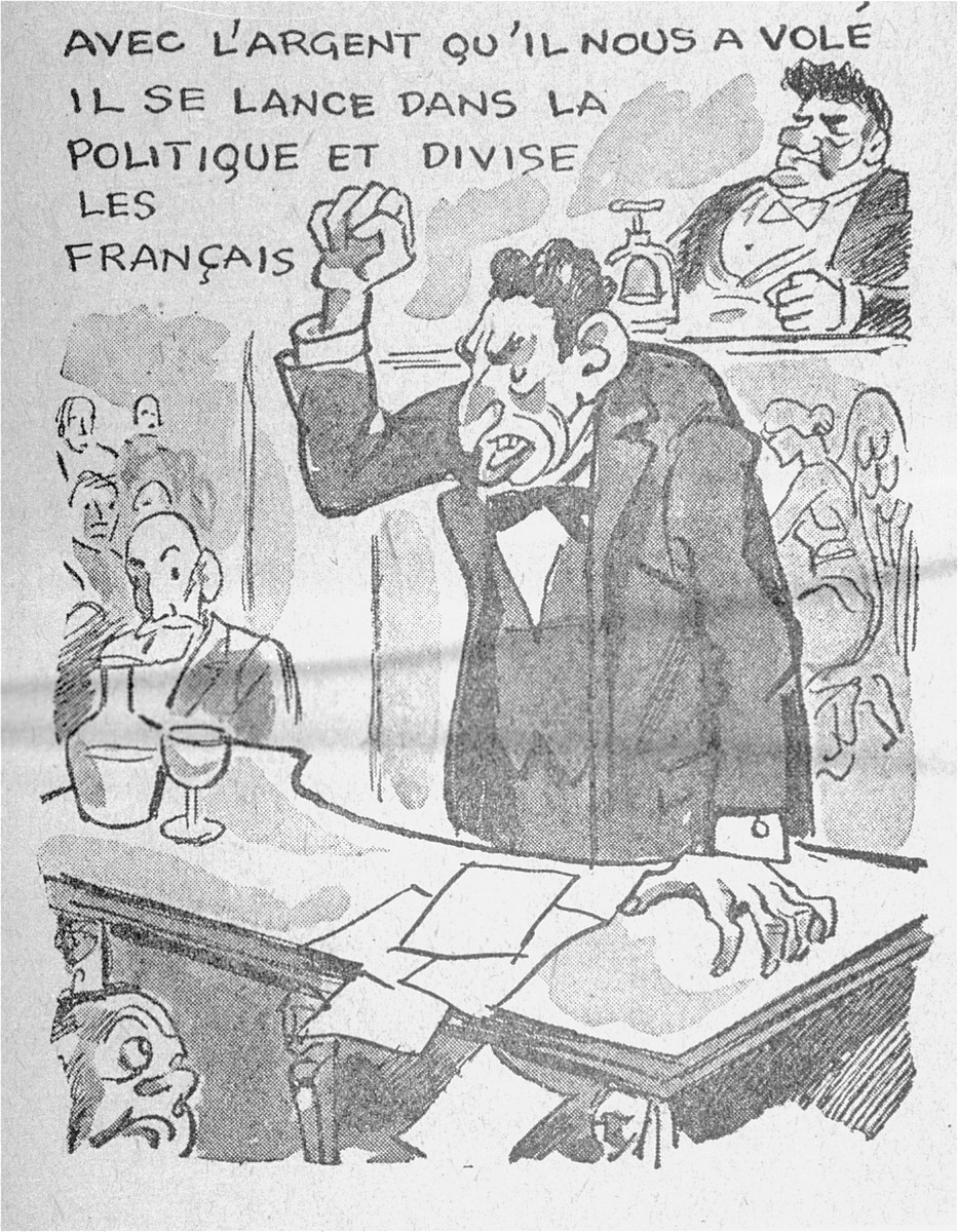 "One of a series of cartoons from a French language, anti-Jewish pamphlet entitled, ""The Canker Which Corroded France,"" published by the Institute for the Study of Jewish Questions in Paris.  This page is entitled: ""With the money he stole from us, he engages in politics and tries to divide the French people."""
