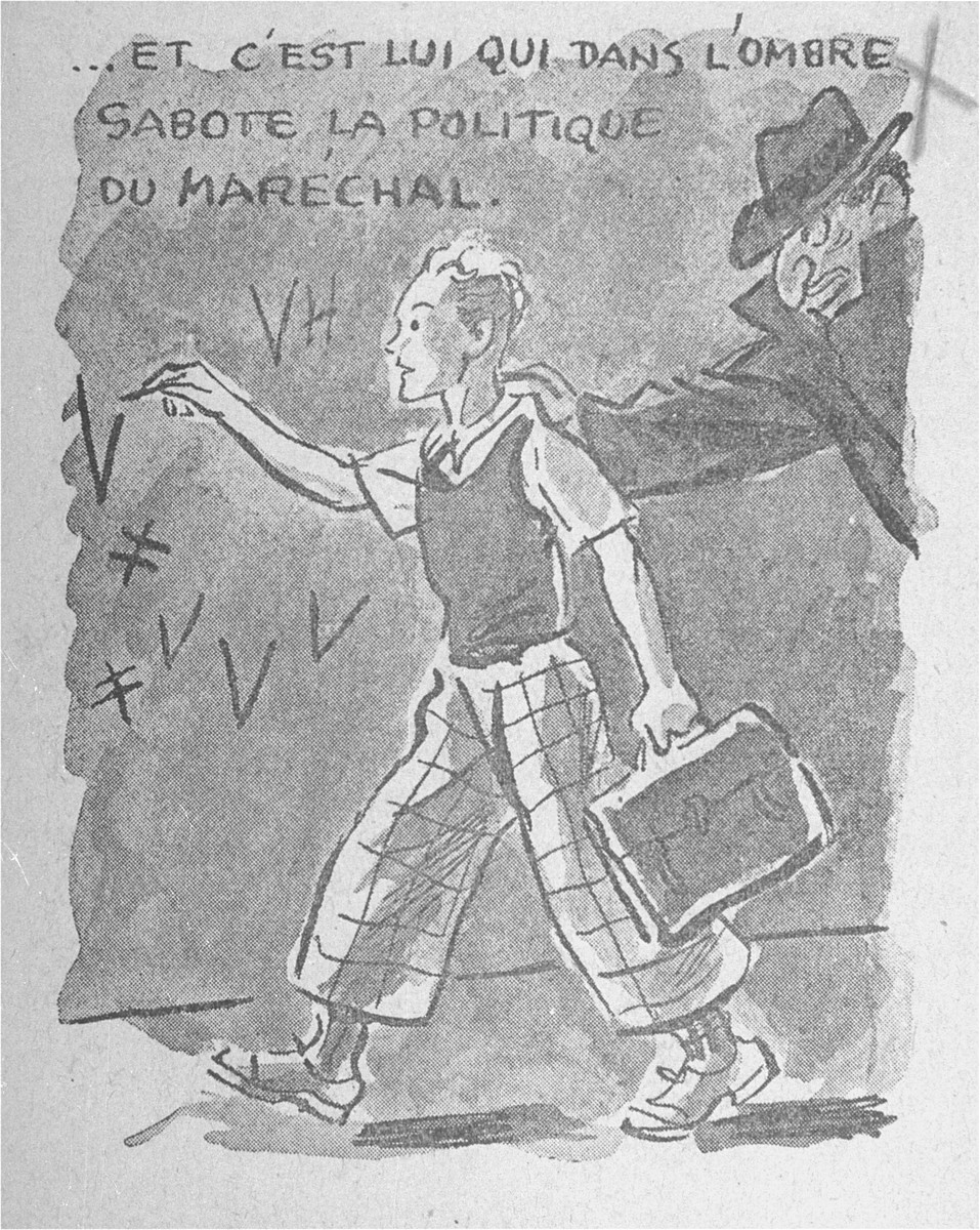 """One of a series of cartoons from a French language, anti-Jewish pamphlet entitled, """"The Canker Which Corroded France,"""" published by the Institute for the Study of Jewish Questions in Paris.  The text of the cartoon reads: """"And it was he who, in the shadows, sabotaged the policies of the Marshal."""""""