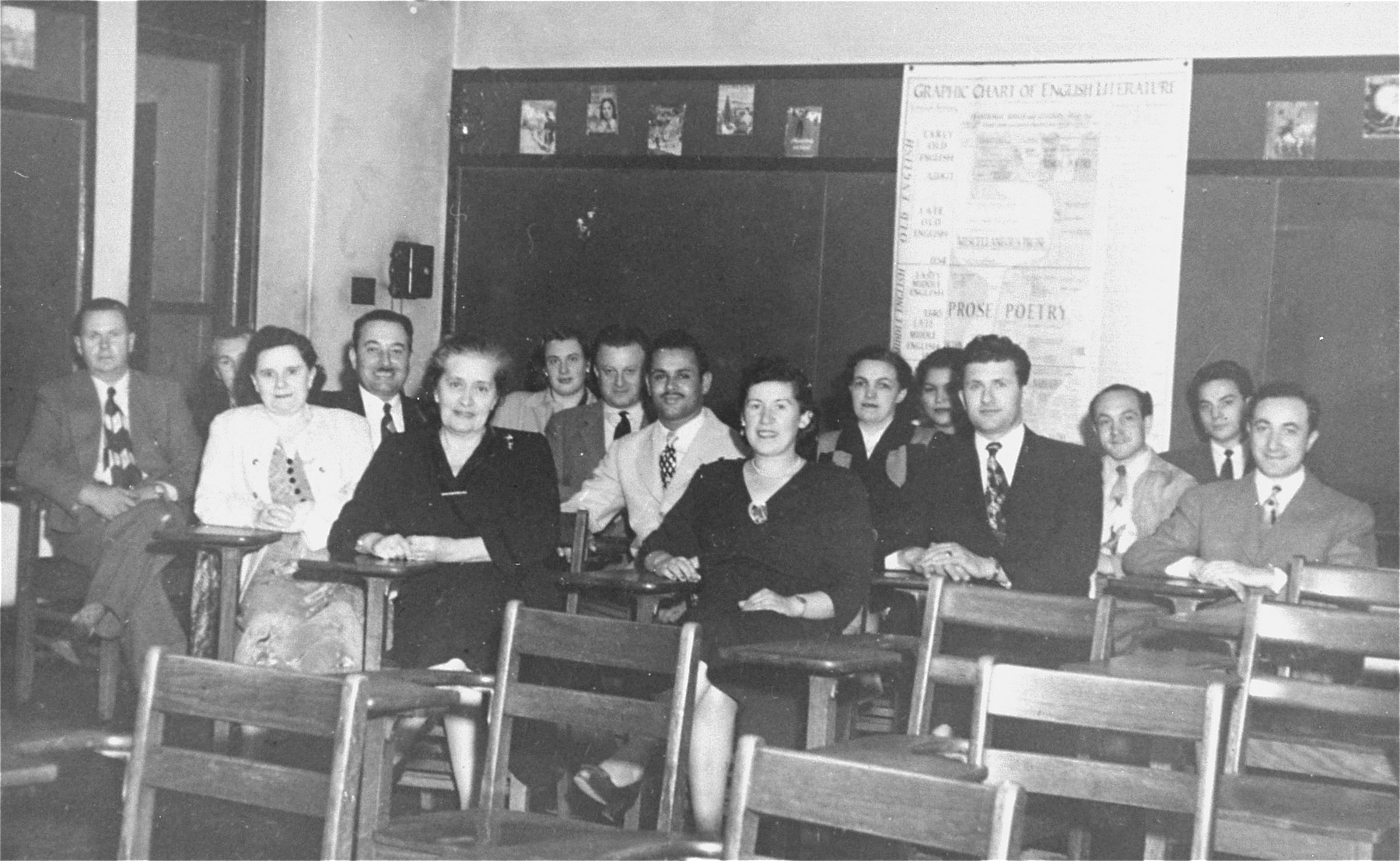 The donor, Frieda  B. Radasky, with fellow new immigrants in class in the United States.  Frieda ( Frimit) Bursztyn Radaskyin, originally from Warsaw, lived in the Warsaw Ghetto and was incarcerated in Paviak Prison during 1943.  She was transported to German factories, labor and concentration camps in Skarzysko, Kamiene, Czestochowa, Ravensbrueck, Gross-Rosen, and Turkheim-Dachau from where she was liberated. She married a fellow survivor still in Turkheim DP camp, and together they emigrated to the USA in 1949.