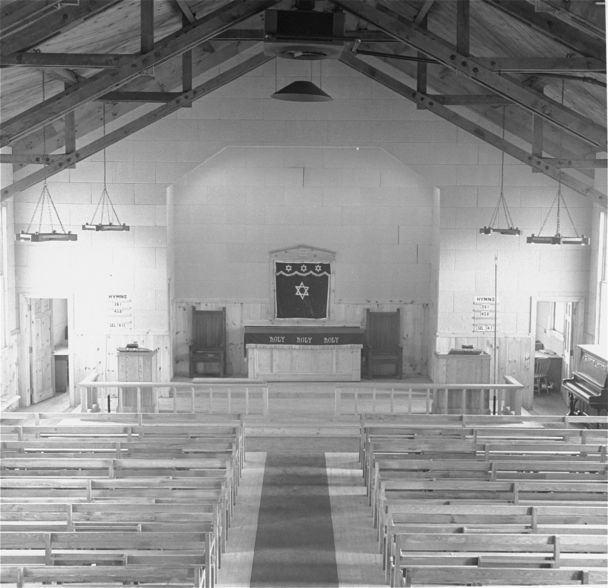 View of the interior of the chapel at the Fort Ontario refugee center.