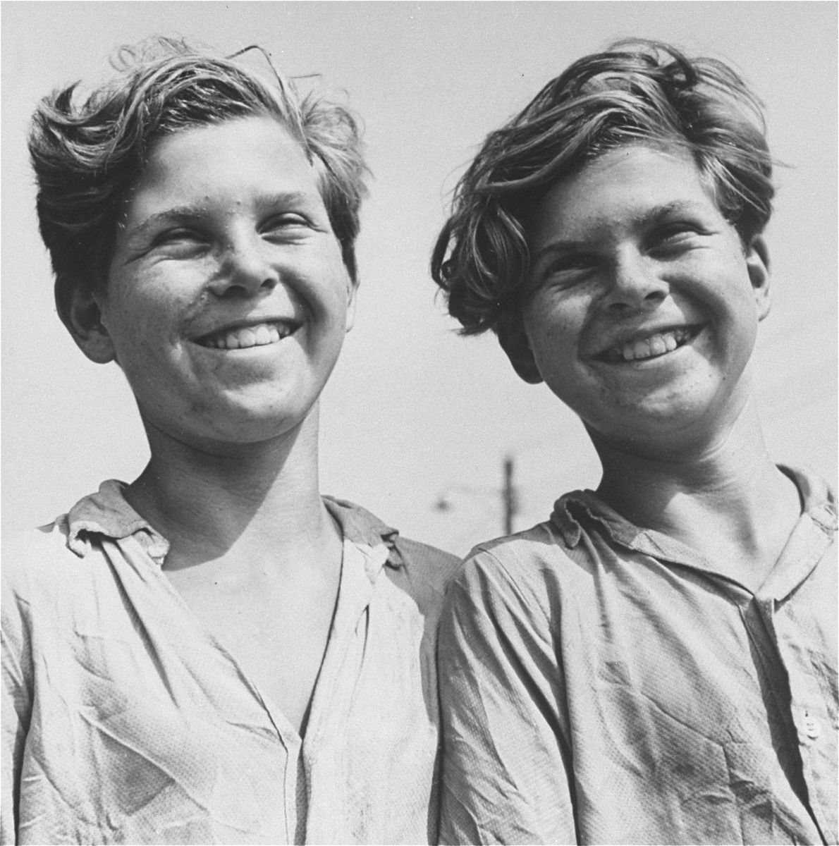 Twins at the Fort Ontario Refugee Center,   Pictured are Fred and Rolf Flatau.