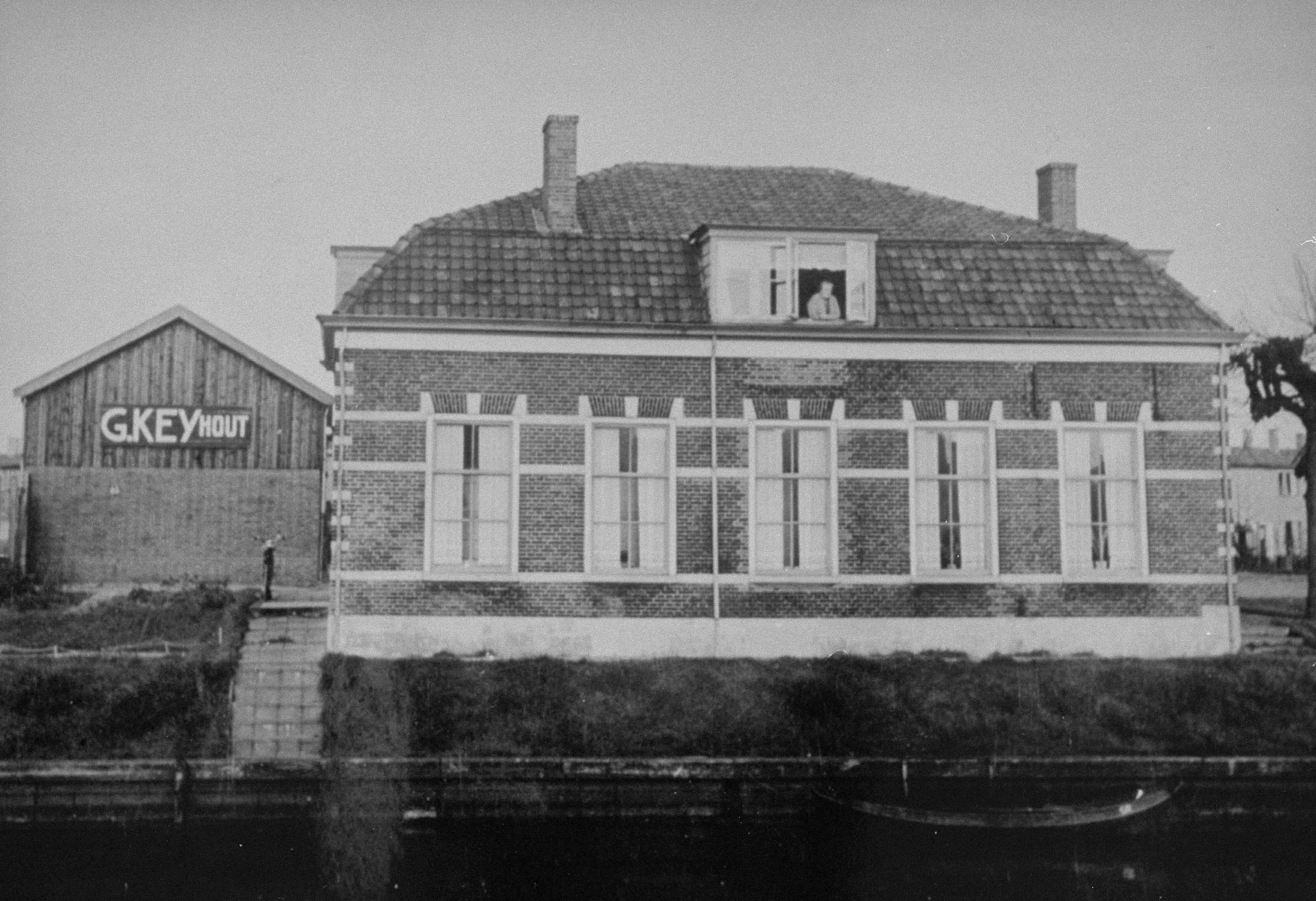 View of the Hornsveld family house in which Flory and Felix Van Beek found refuge during the war.   The house was located on the outskirts of the town, but across from Gestapo headquarters.  Fleeing the SS the Van Beeks knocked on the door of the Hornsweld family in the middle of the night on January 21, 1944 and stayed until the end of the war.