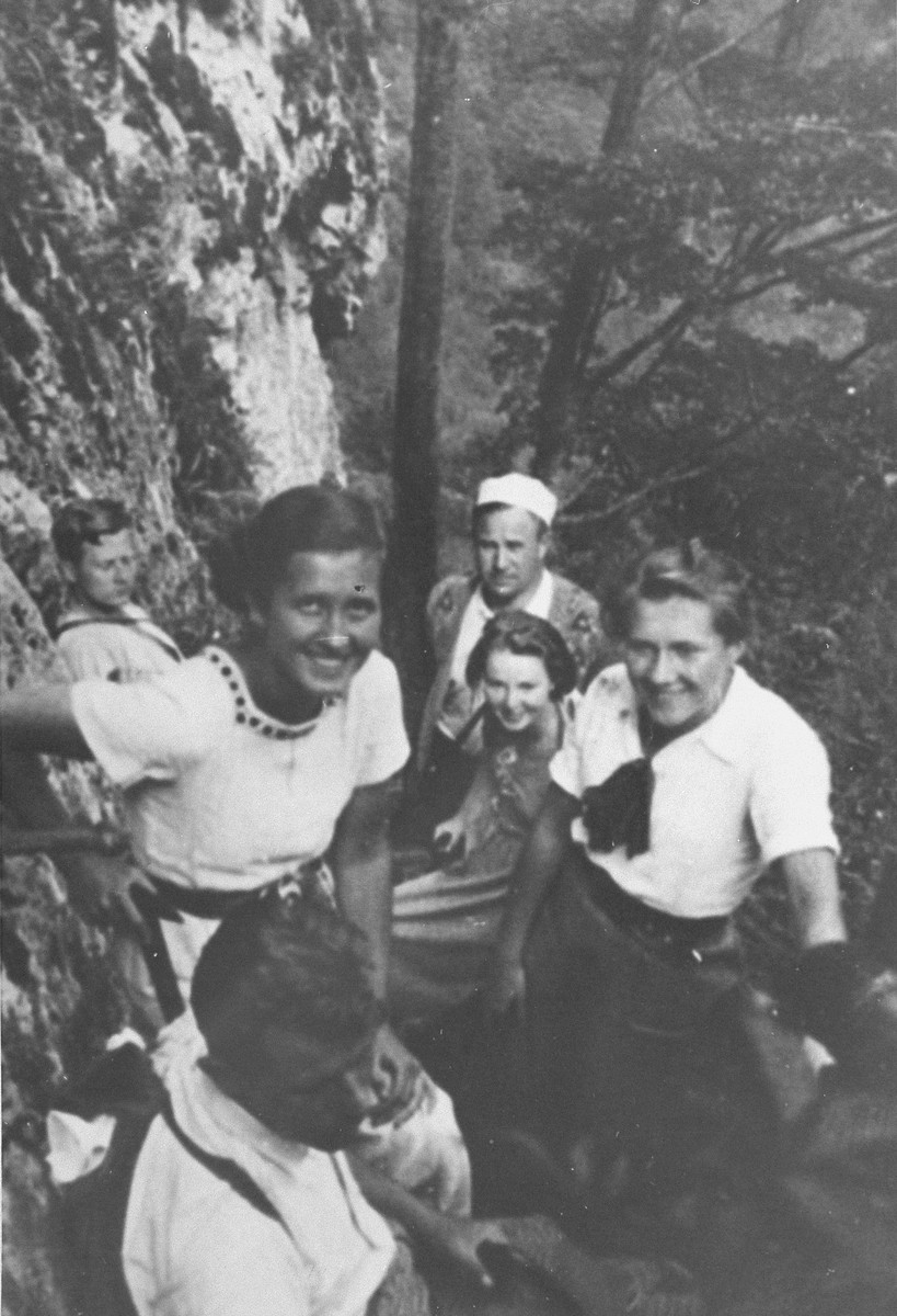 Zofia Baniecka (right) poses with friends on an outing.