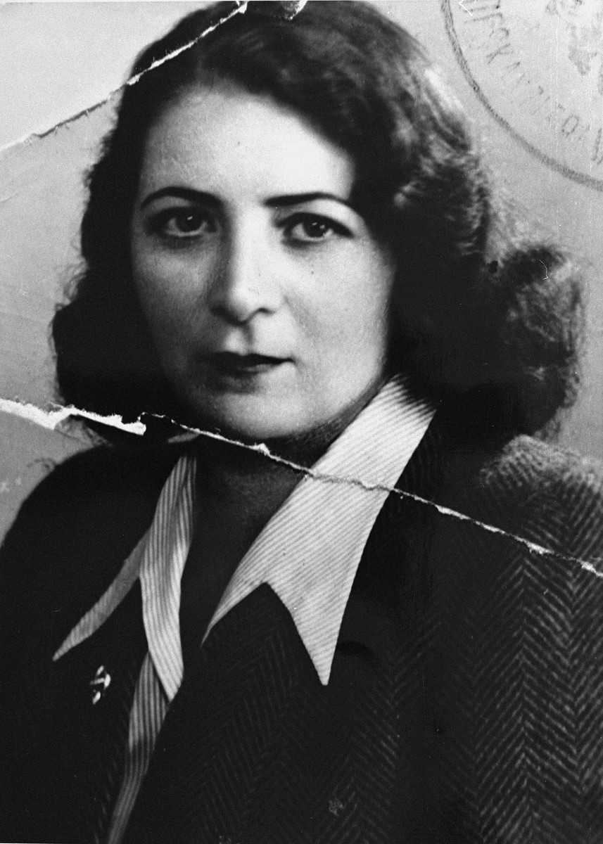 Identification portrait of a Jewish woman, who had survived the war in hiding, just after the liberation.  Pictured is the mother of Romana Schreier.