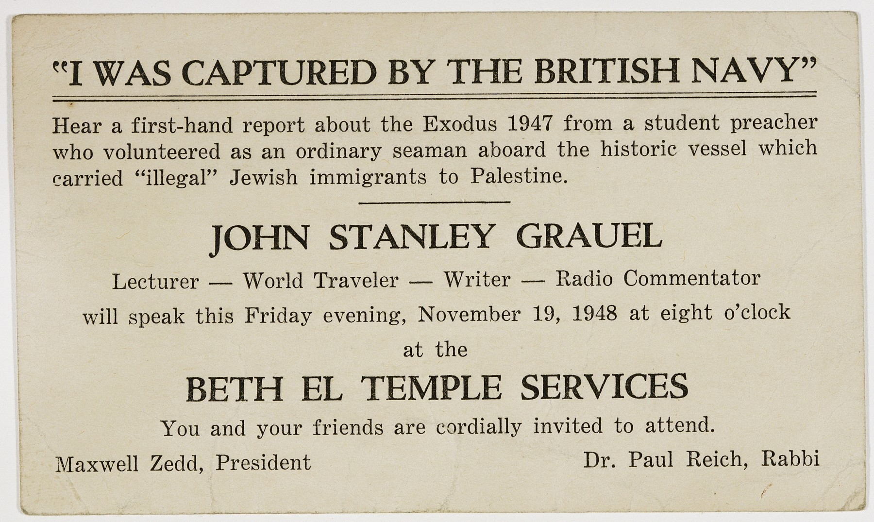 """Advertisement for a lecture by Exodus 1947 crew member John Stanley Grauel entitled, """"I was captured by the British Navy"""" at Temple Beth El in Norfolk/Virginia Beach, VA."""
