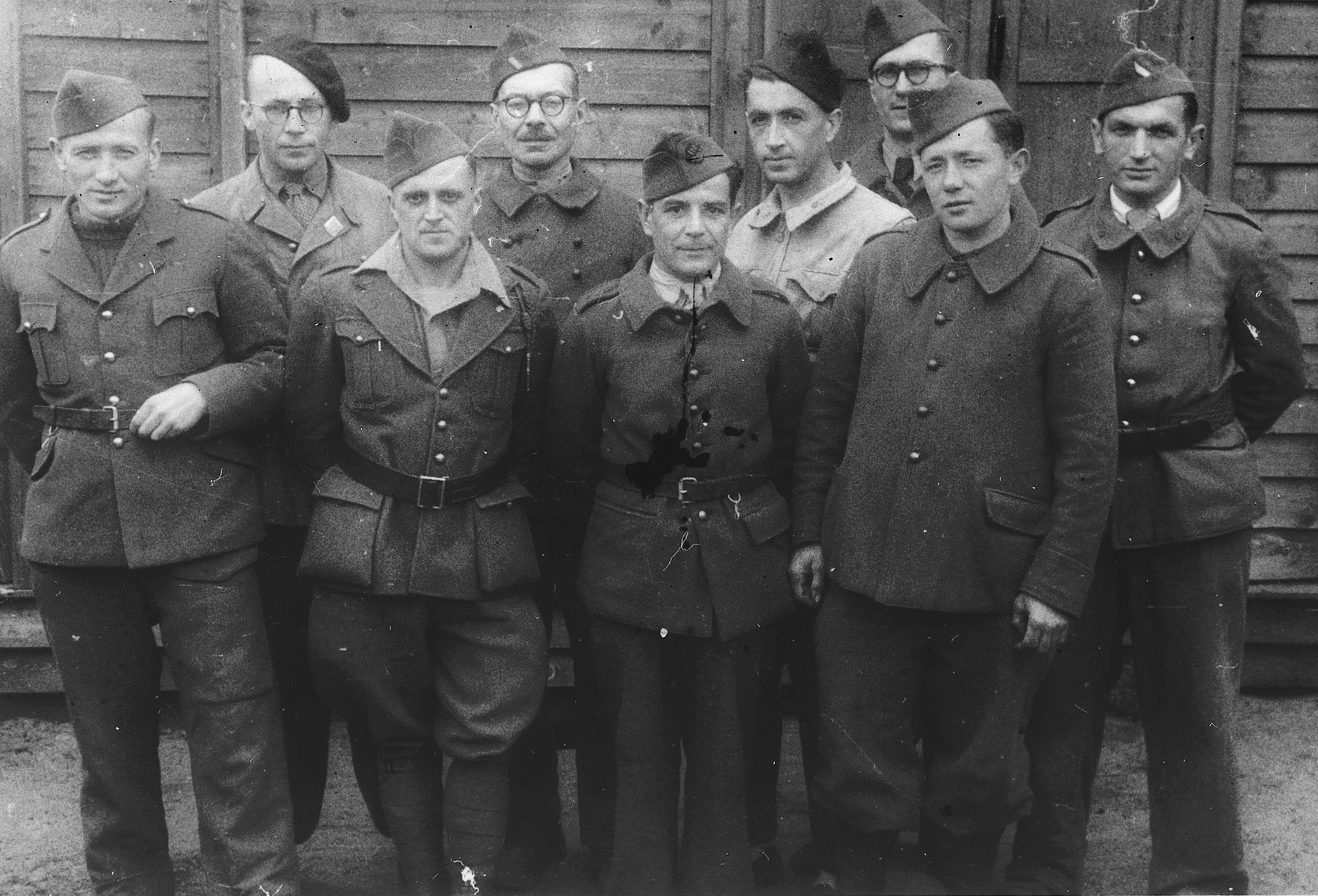Group portrait of French prisoners-of-war in Stalag X B.  Among them is Pierre Babut who later married Helene Finkielsztajn.