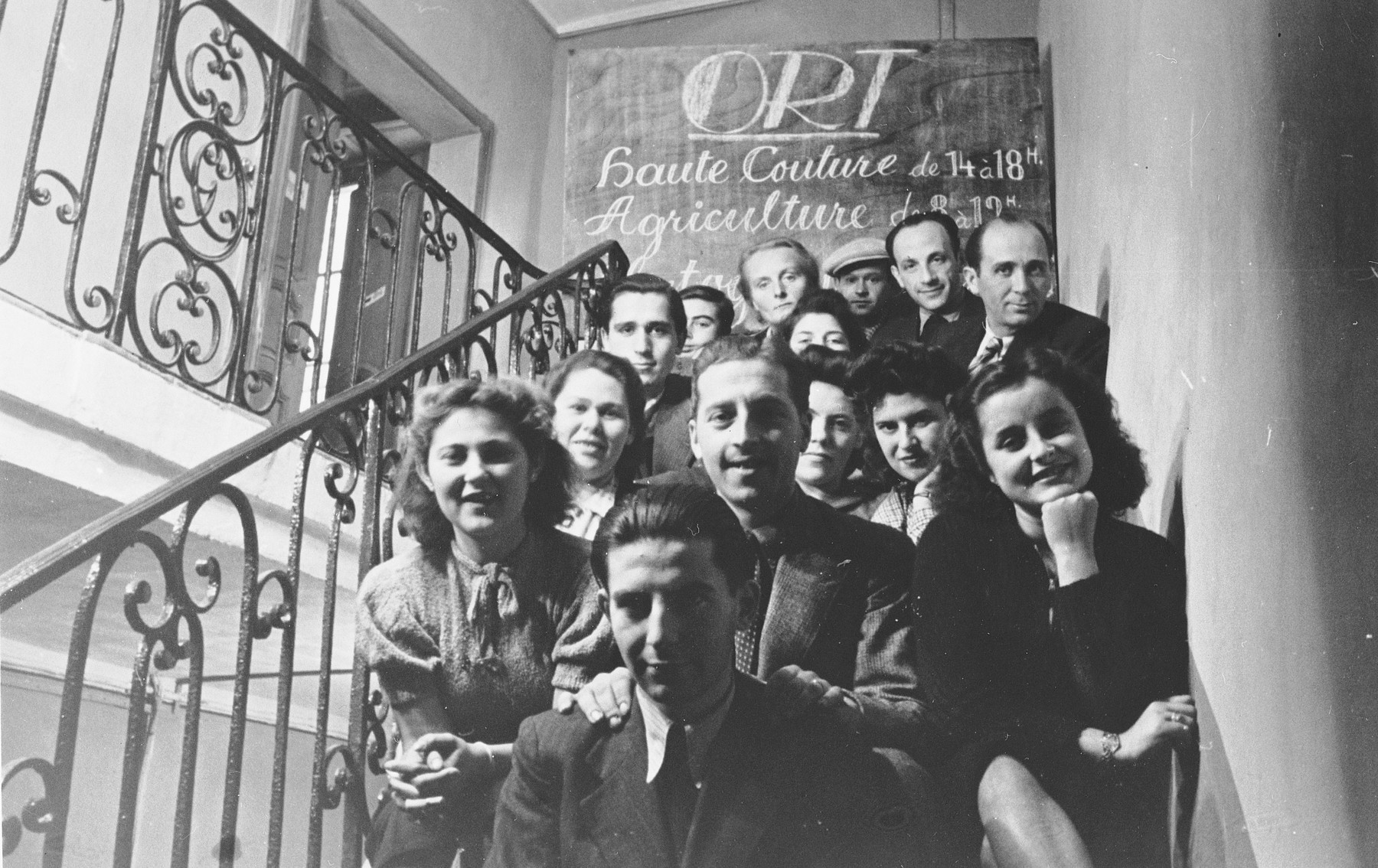 Students in an ORT vocational school in the Agde internment camp.  Among those pictured is Willi Bauer, the second husband of Mariane Roman (back row, second from right).  He studied photography at the school.