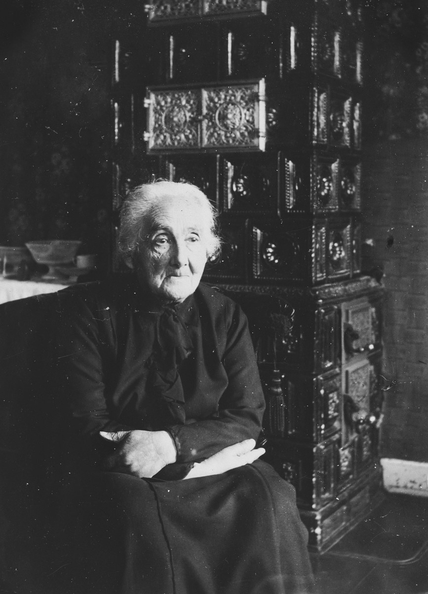 Portrait of an elderly Jewish woman sitting by a decorative oven in her home in Germany.  Pictured is Alice Oppenheimer.