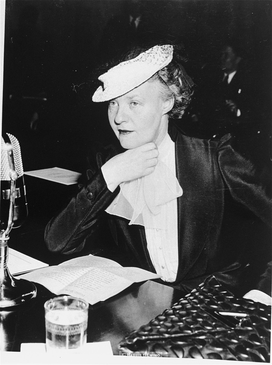 Newspaper columnist Dorothy Thompson testifies for the second time within a week at Senate committee hearings, advocating the repeal of the Neutrality Act.
