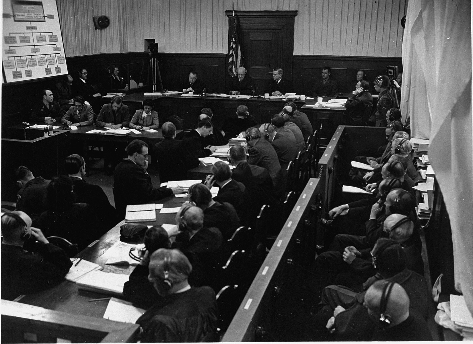 The members of the Tribunal hear evidence during the Krupp Trial.