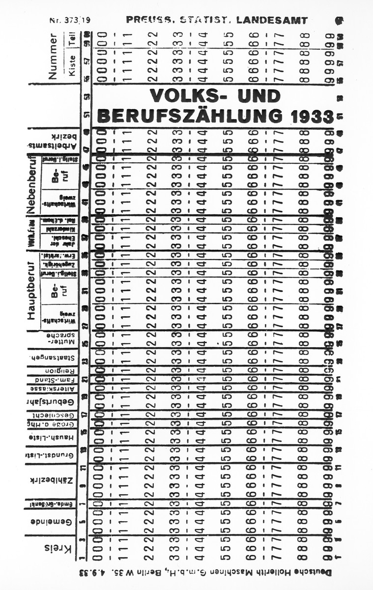Facsimile of Hollerith punch card used in a 1933 Berlin population and vocational census.