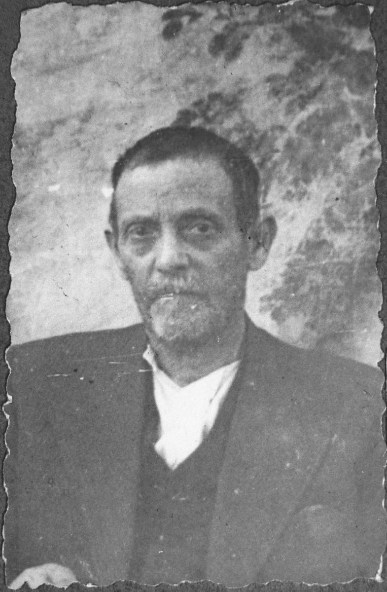 Portrait of Mushon Kamchi, son of Solomon Kamchi.  he was a second-hand dealer.  He lived at Skopyanska 76 in Bitola.