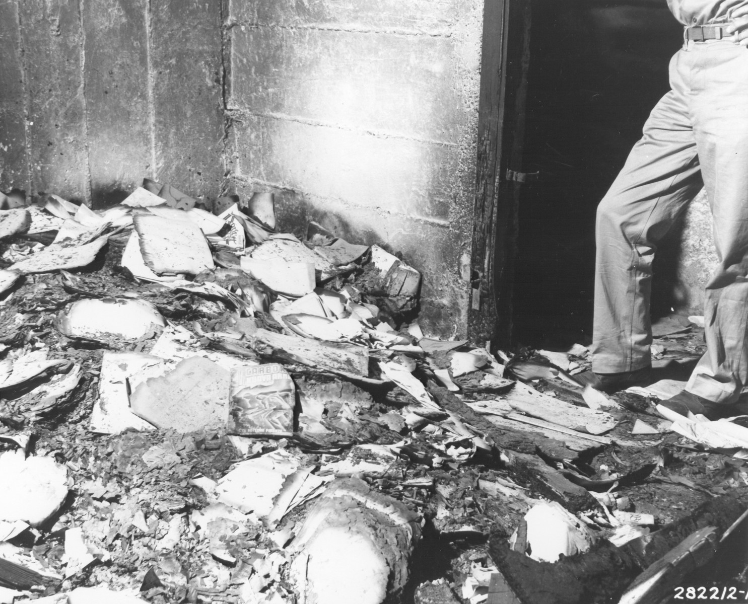 Documents, pamphlets, and books burnt by the Gestapo in the basement of the former Gestapo headquarters, located in a building on Via Tasso.
