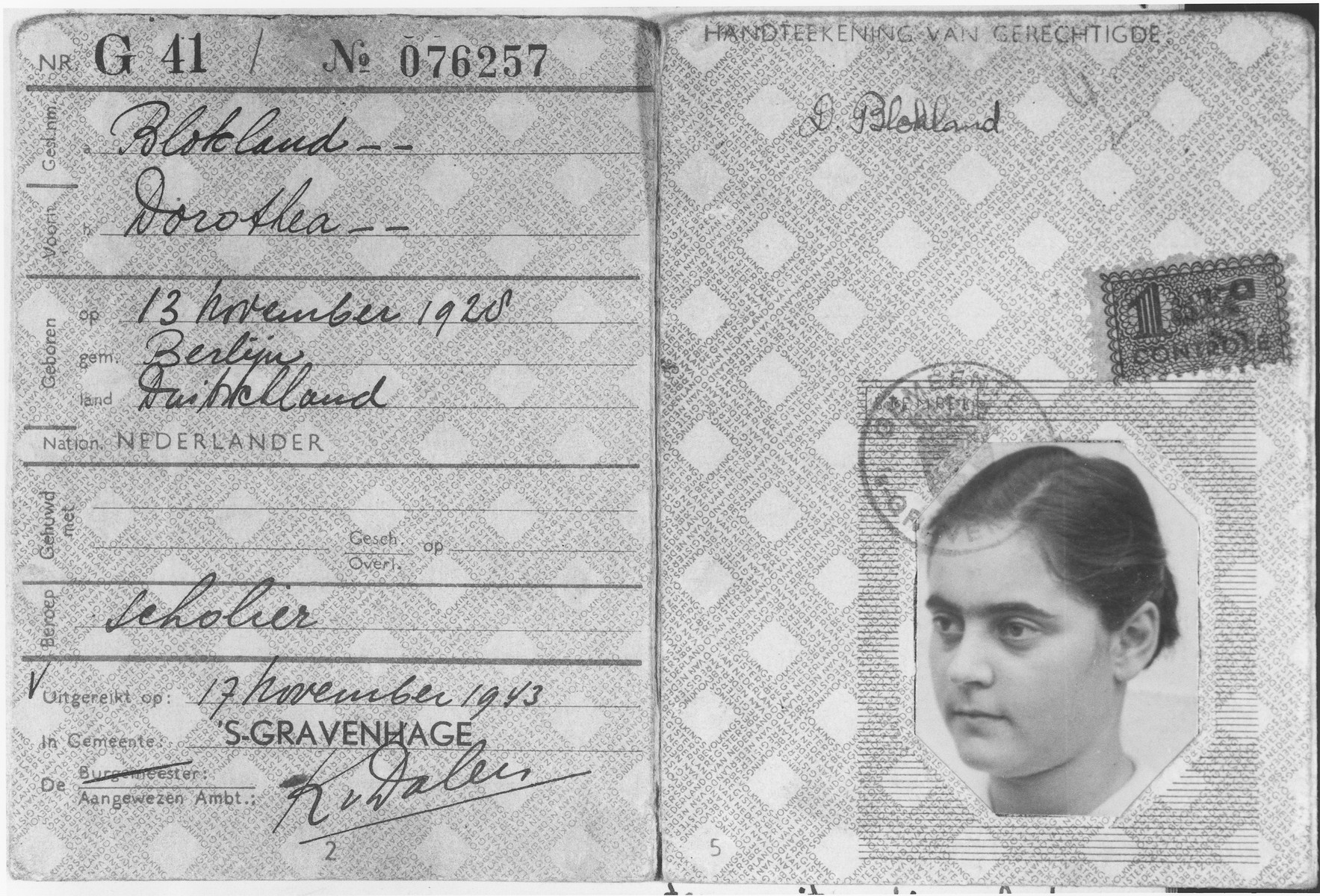 False identification card issued to Doris Bloch in the name of Dorothea Blokland.