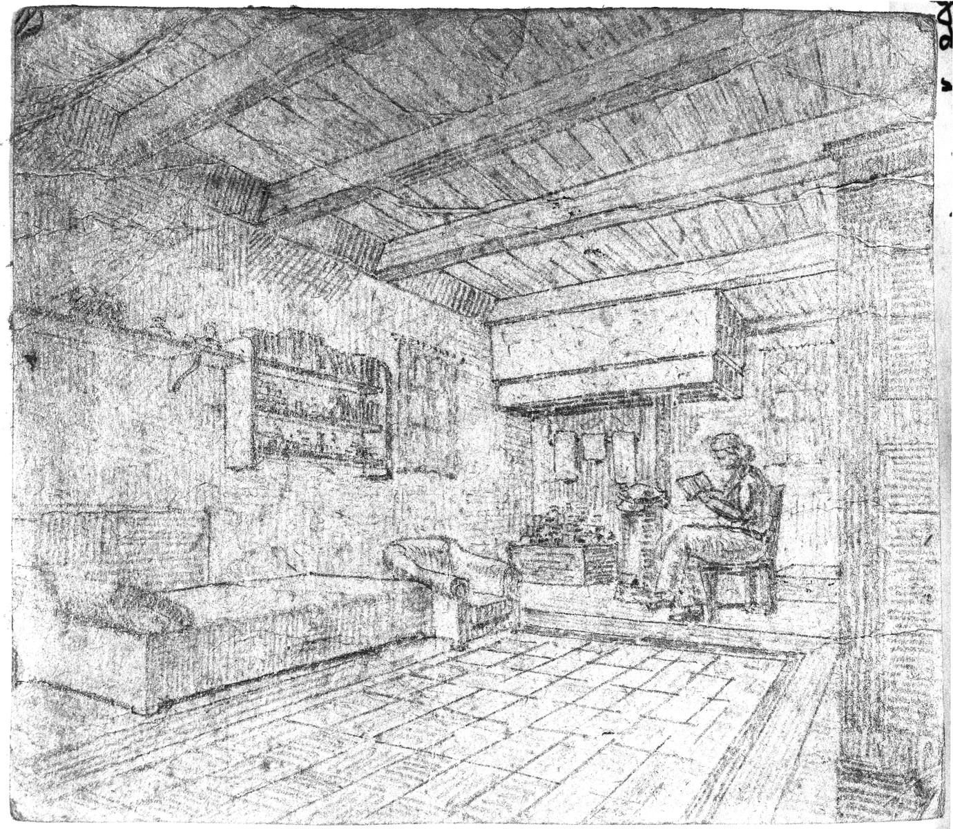 Drawing made by Richard Bloch of the room where he and his wife were hiding in Nunspeet, Holland.  The room was an old bakehouse adjacent to the home of the Alblas family.