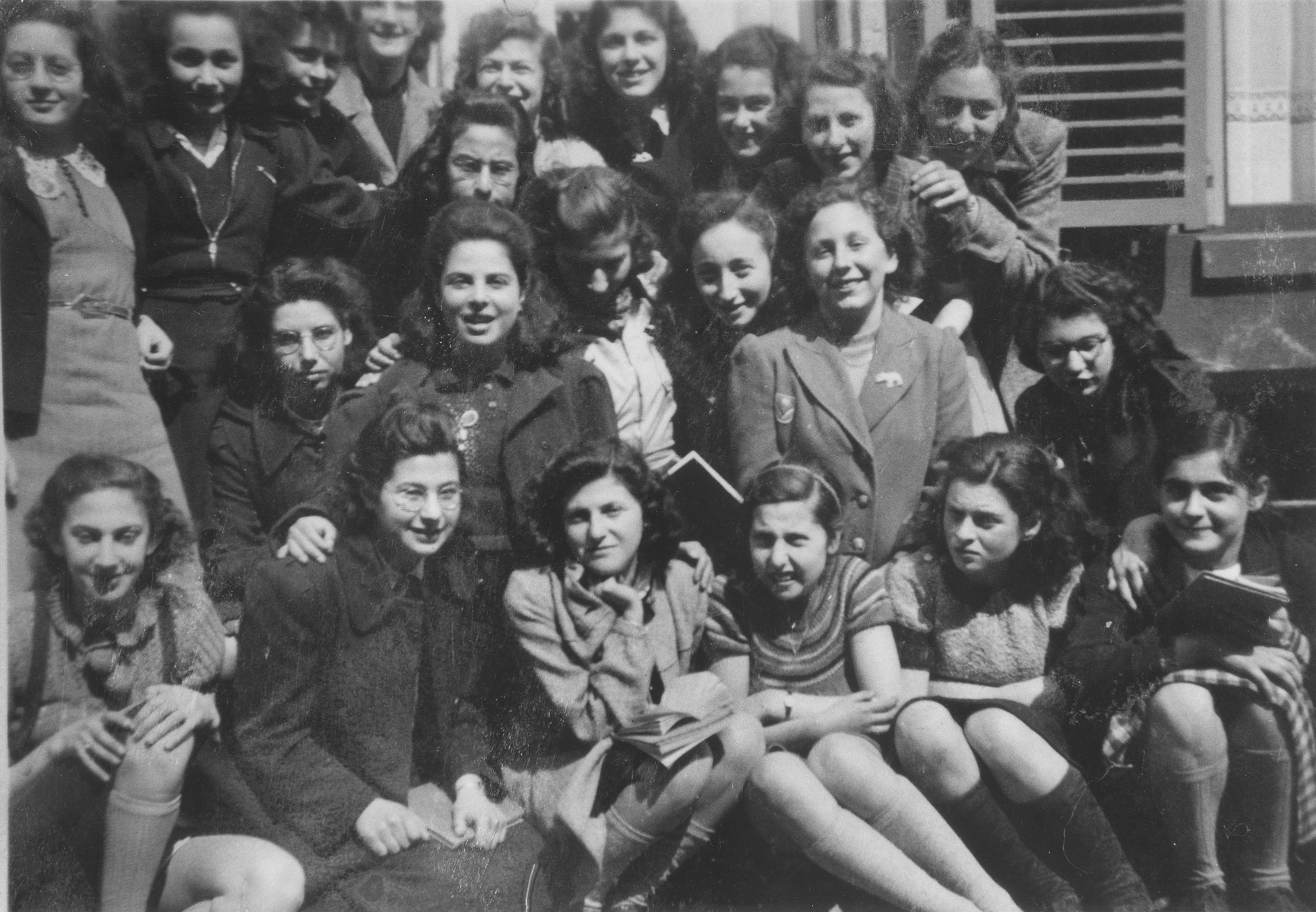 Group portrait of female students in the Jewish school of Zwolle.  Doris Bloch is pictured in the front row at the far right.