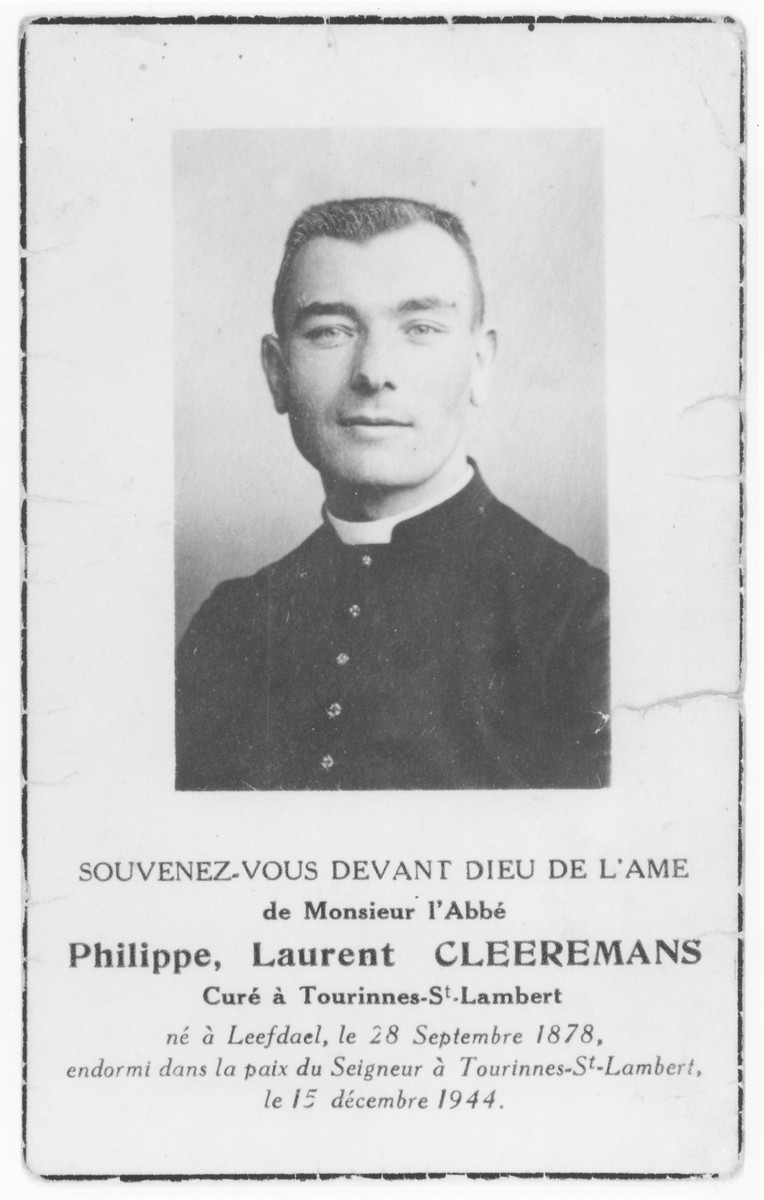 Death notice for Father Philippe Laurent Cleeremans (1878-1944), curate of Tourinnes-St. Lambert, who assisted two Jewish brothers, Isaac and Bernard Lajbman, while they were living in hiding in the village.