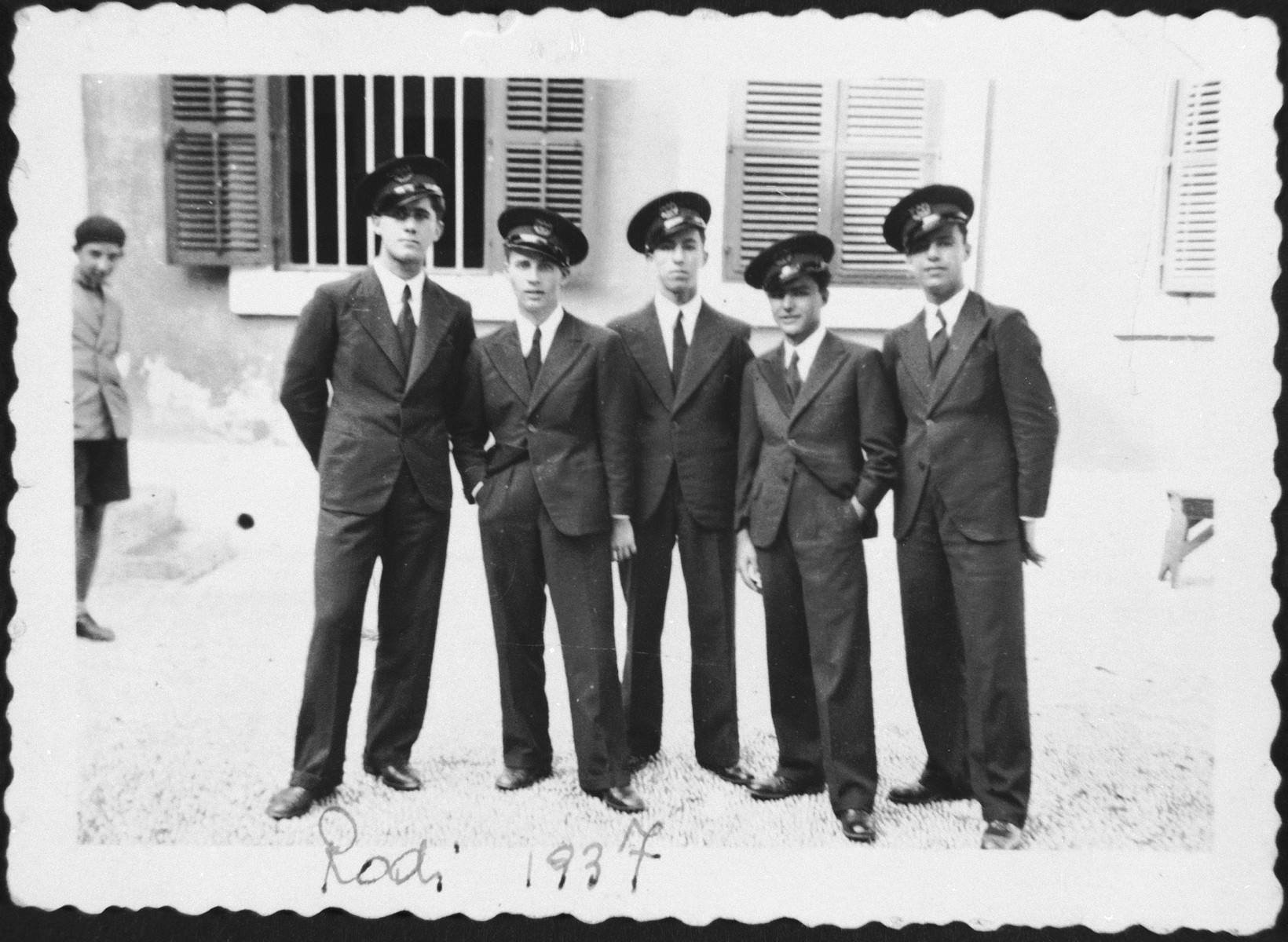 Students at the Rabbinical College in Rhodes in uniform.  Among those pictured is Haim Menasce (center).