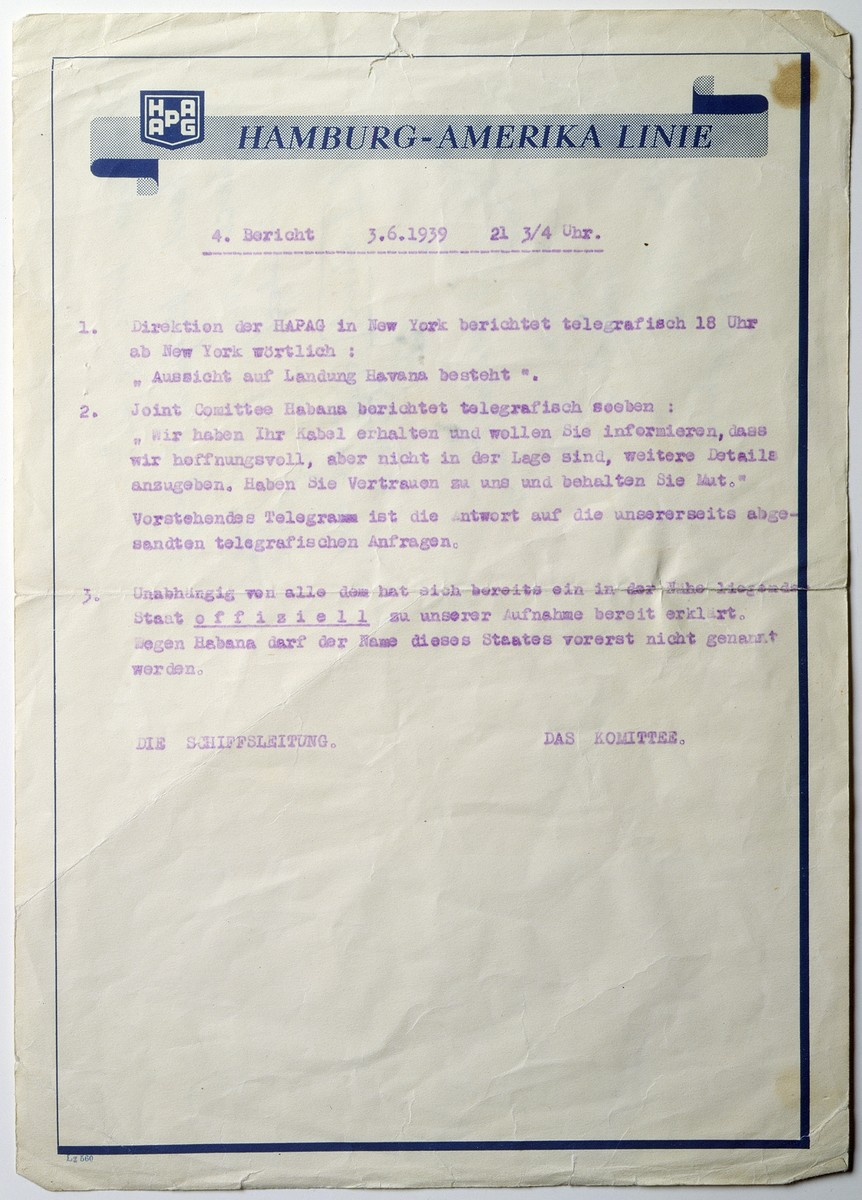 Notice to MS St. Louis passengers from the passenger committee and the ship's crew, typewritten on Hamburg-Amerika Line letterhead, informing passengers that landing in Havana remains a possibility, and asking them to be hopeful and ready to respond to an official confirmation of permission to land.
