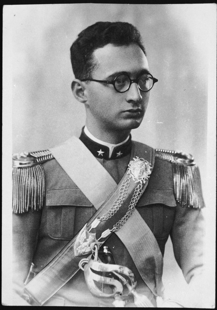 Portrait of Carlo Abenaim in his Italian army uniform.   Carlo Abenaim served as an Italian officer during the campaign into Abissinia but was expelled from the army in 1938 as a result of the racial laws.  He was reinstated after the war and eventually made the rank of general.  In that capacity he commanded the army arsenal of Piacenza.  He was the only member of his immediate family to escape deportation.