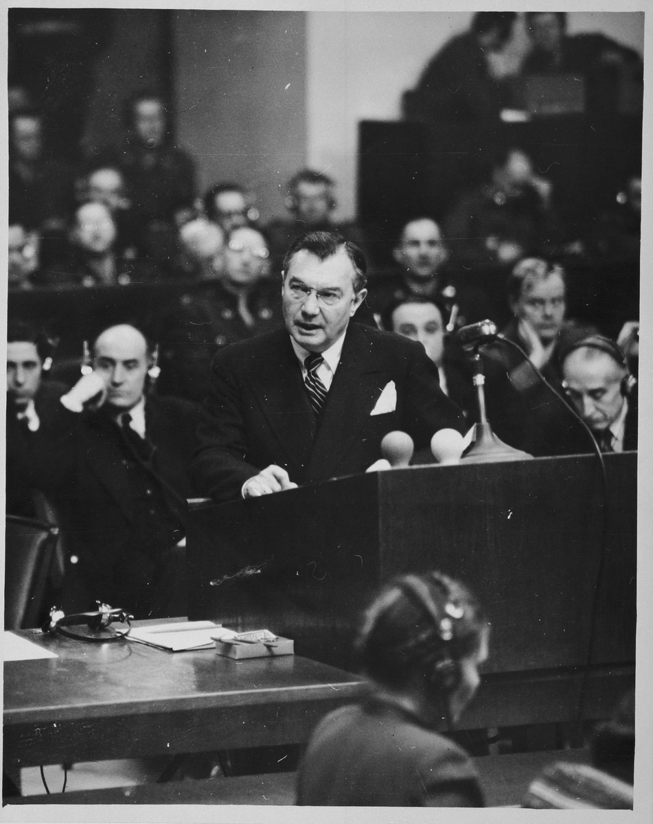 Chief American prosecutor Justice Robert Jackson delivers the opening speech of the American prosecution at the International Military Tribunal trial of war criminals at Nuremberg.