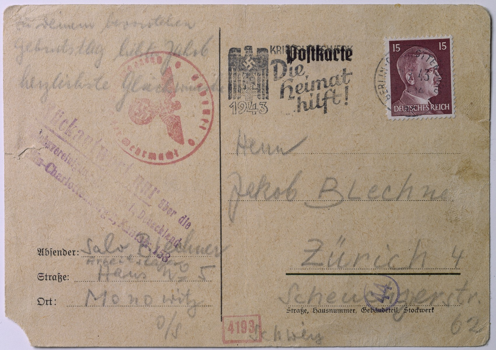 Postcard written by Salo Blechner in the Auschwitz-Monowitz concentration camp to his brother Jakob in Zurich, thanking him for sending parcels.