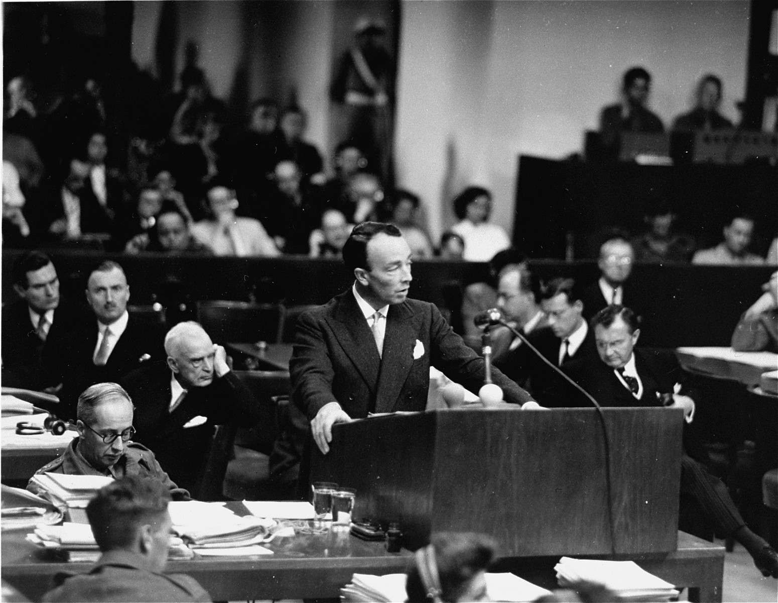Chief British prosecutor Sir Hartley Shawcross speaks at the International Military Tribunal trial of war criminals at Nuremberg.
