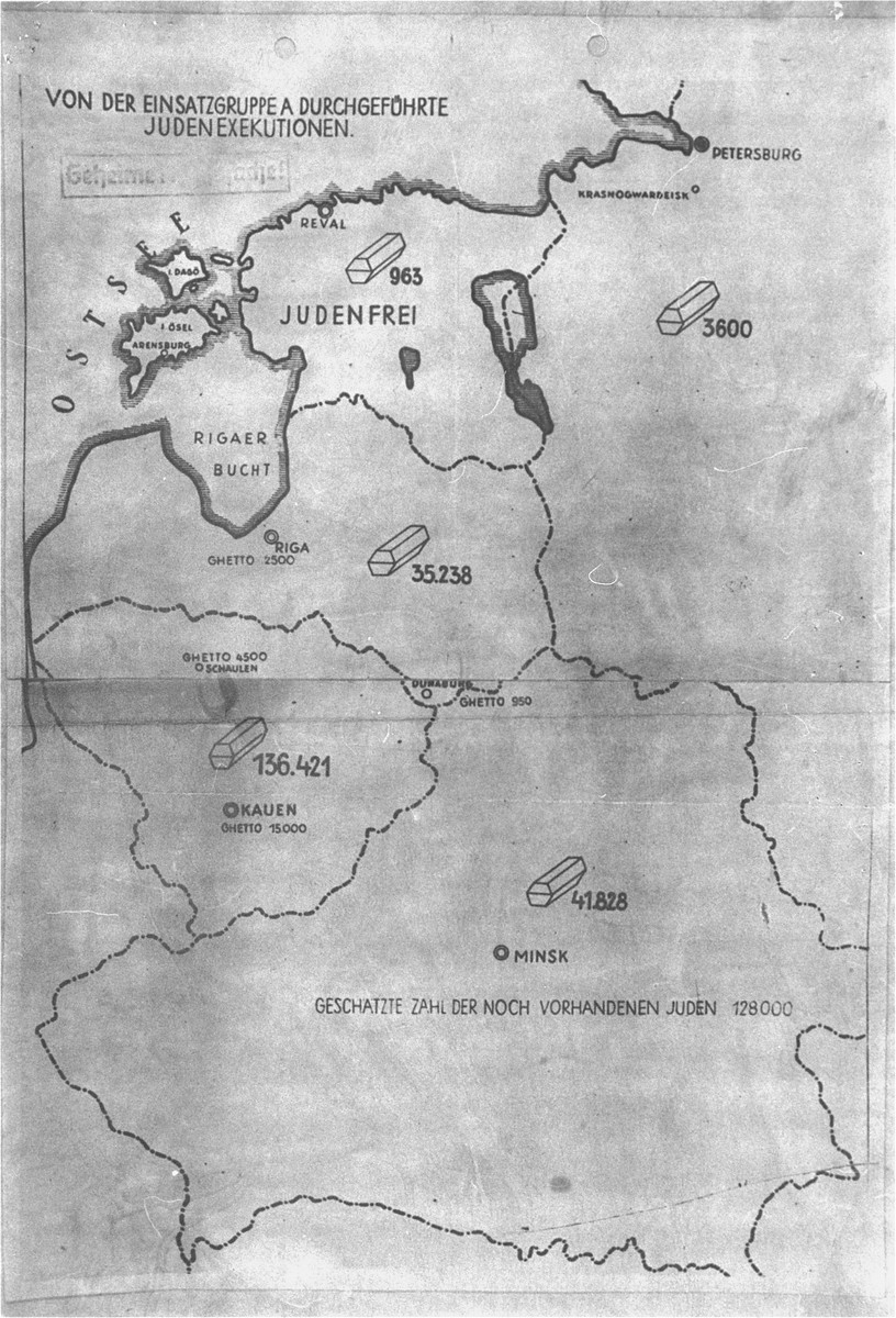 "A map that accompanied a secret undated report on the mass murder of Jews by Einsatzgruppe A, which was used as evidence by both the American and British prosecution teams during the International Military Tribunal trial of war criminals at Nuremberg.  The map is entitled ""Jewish Executions Carried Out by Einsatzgruppe A"" and stamped ""Secret Reich Matter"" shows the number of Jews executed (symbolised by coffins) in the Baltic states and Belorussia by late 1941.  The legend near the bottom states that ""the estimated number of Jews still on hand [was] 128,000."""