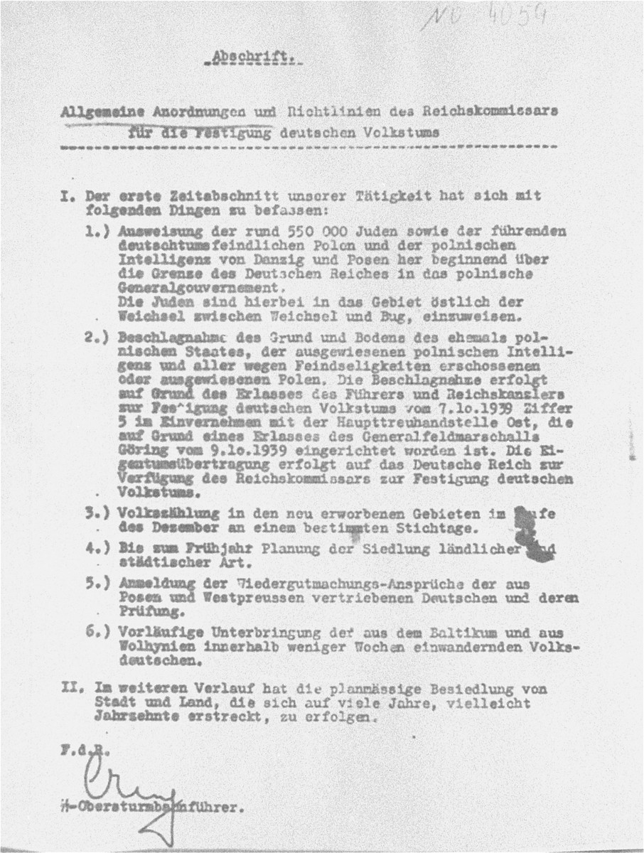 Reproduction of a decree issued by Rudolf Creutz, deputy in the Staff Main Office of the Reich Commissioner for the Strengthening of Germandom, detailing orders and guidelines for the expulsion of large numbers of Jews from Poland, subsequent confiscation of lands and property, and resettlement of ethnic Germans in evacuated territories.  The decree was introduced as evidence by the prosecution at the RuSHA Trial.