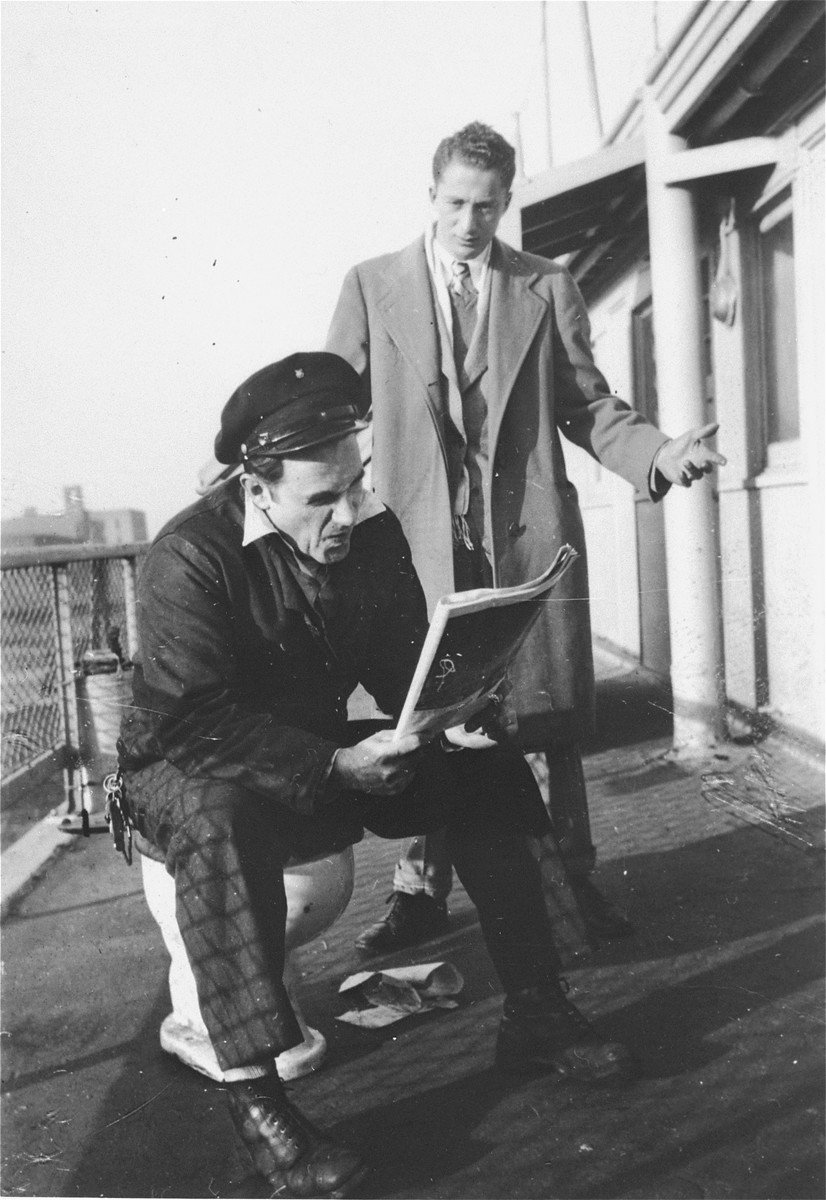 Mike Weiss and Murray Aronoff, crew members on the deck of the President Warfield (later the Exodus 1947) before the ship sailed for Europe.