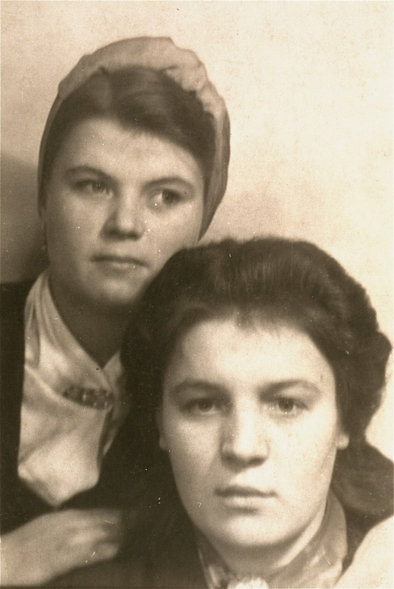 Portrait of two women who worked at the Volkswagen plant in Wolfsburg.  Among those pictured is Gallina Jakowna (top), a Ukrainian forced-laborer, who befriended Solly Perel when he worked there as a student at the Hitler Youth school.
