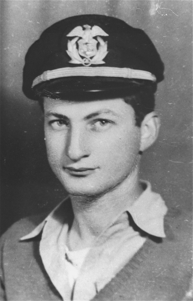 Portrait of Bernard Marks, a crew member of the President Warfield/Exodus 1947, wearing his merchant marine officer's cap.