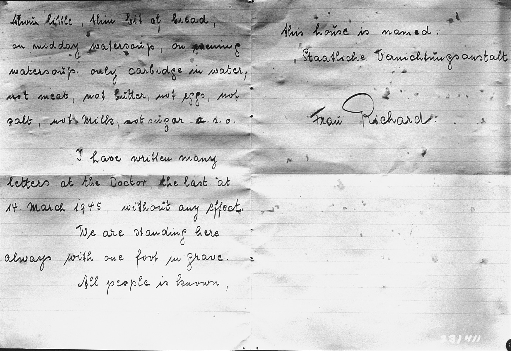 Second page of a letter written by Frida Richard, a survivor of the Hadamar Institute, in which she describes her cruel treatment at the euthanasia facility.  The photograph was taken by an American military photographer soon after the liberation.
