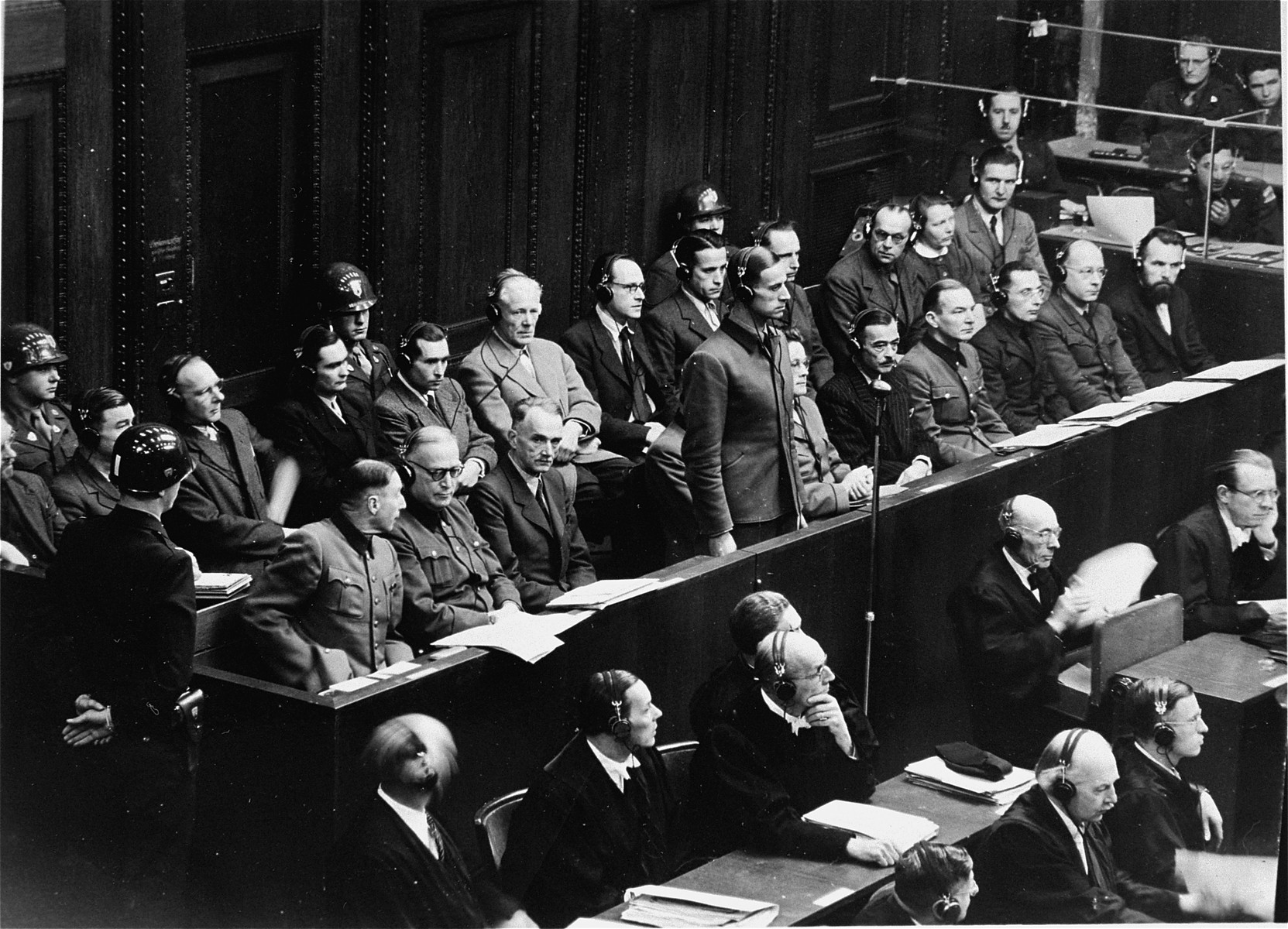 Karl Brandt, Hitler's personal physician stands in the defendants dock at the Doctors Trial.