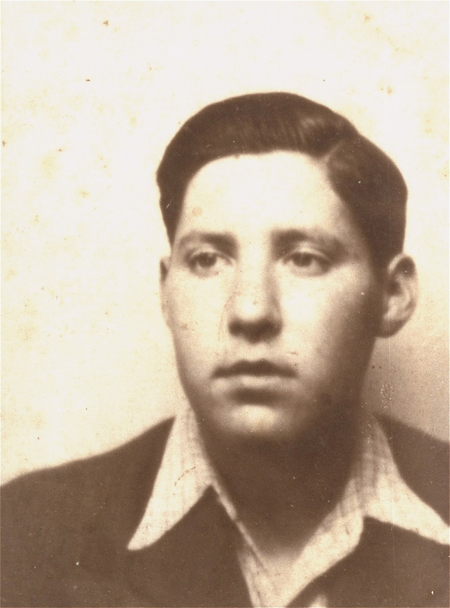Portrait of a Jewish youth while living in hiding as a student at the Hitler Youth school in Braunschweig, Germany.    Pictured is Solly Perel who was living under the assumed name of Josef Perjel. The photo was taken for a motorcycle driver's license.