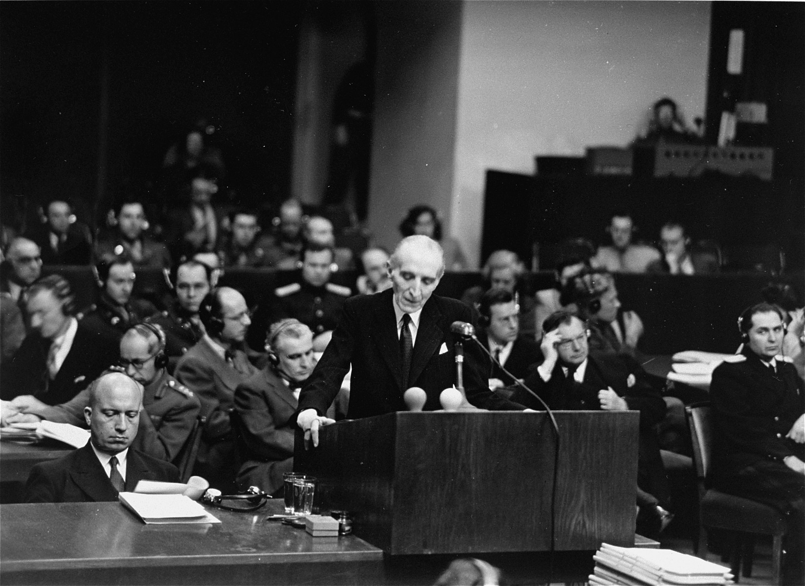 Chief French prosecutor Auguste Champetier de Ribes speaks at the International Military Tribunal trial of war criminals at Nuremberg.