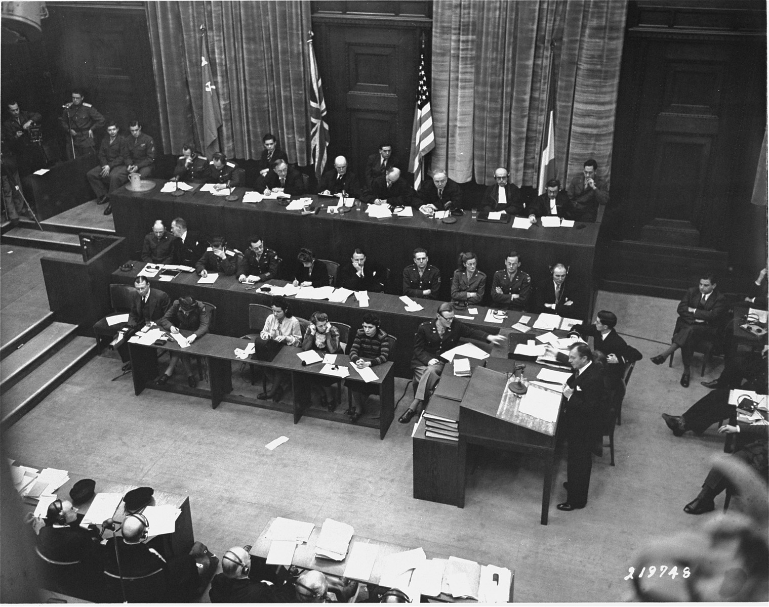 Chief U.S. prosecutor Justice Robert Jackson delivers the prosecution's opening statement at the International Military Tribunal war crimes trial at Nuremberg.
