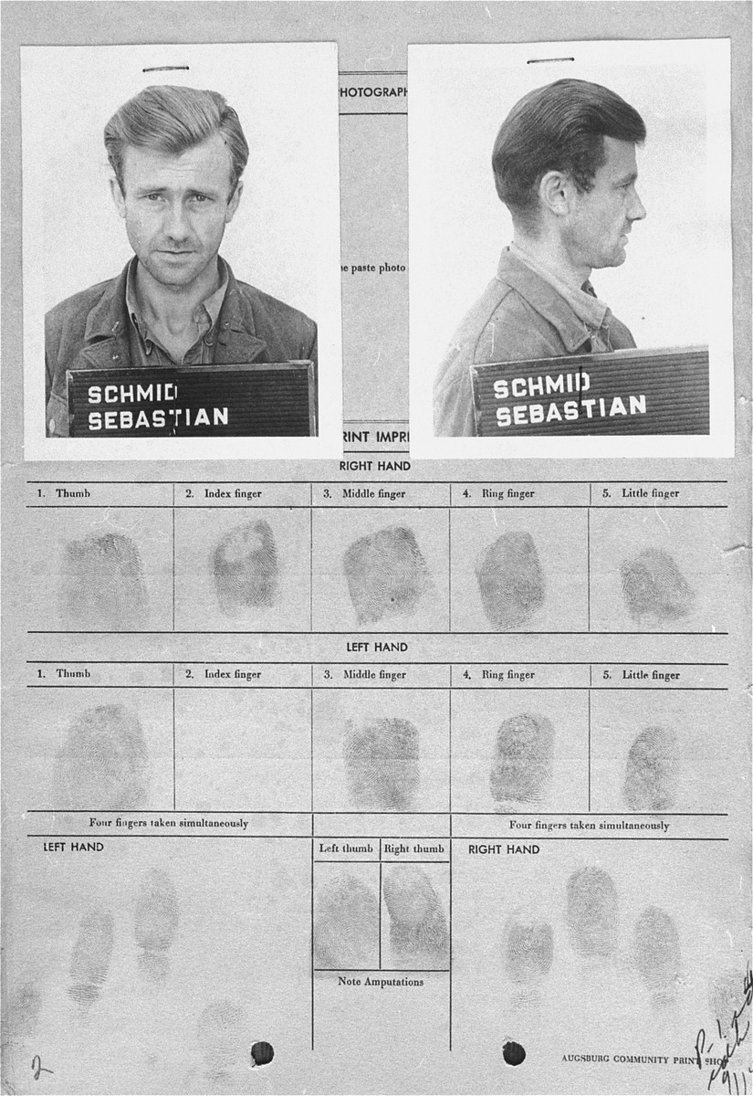 "The arrest card of Sebastian Schmid.  Sebastian Schmid was a member of the SS who served as a driver at Dachau from mid-1938 to 1941.  He was tried by the U.S. Military Government Court at Dachau in 1947 for ""participation in the killing of Polish inmates.""  Convicted and initially sentenced to life imprisonment, Schmid's sentence was eventually reduced to time served in 1951."
