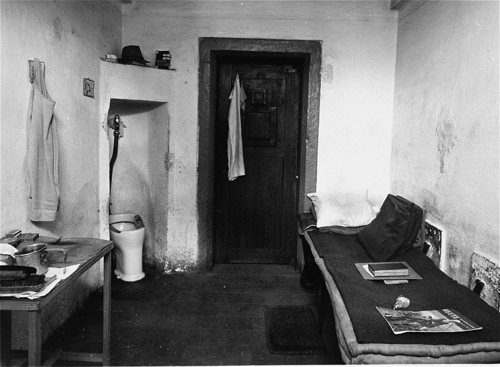 View of a jail cell in the Nuremberg prison, where the defendants of the International Military Tribunal trial of war criminals were confined.