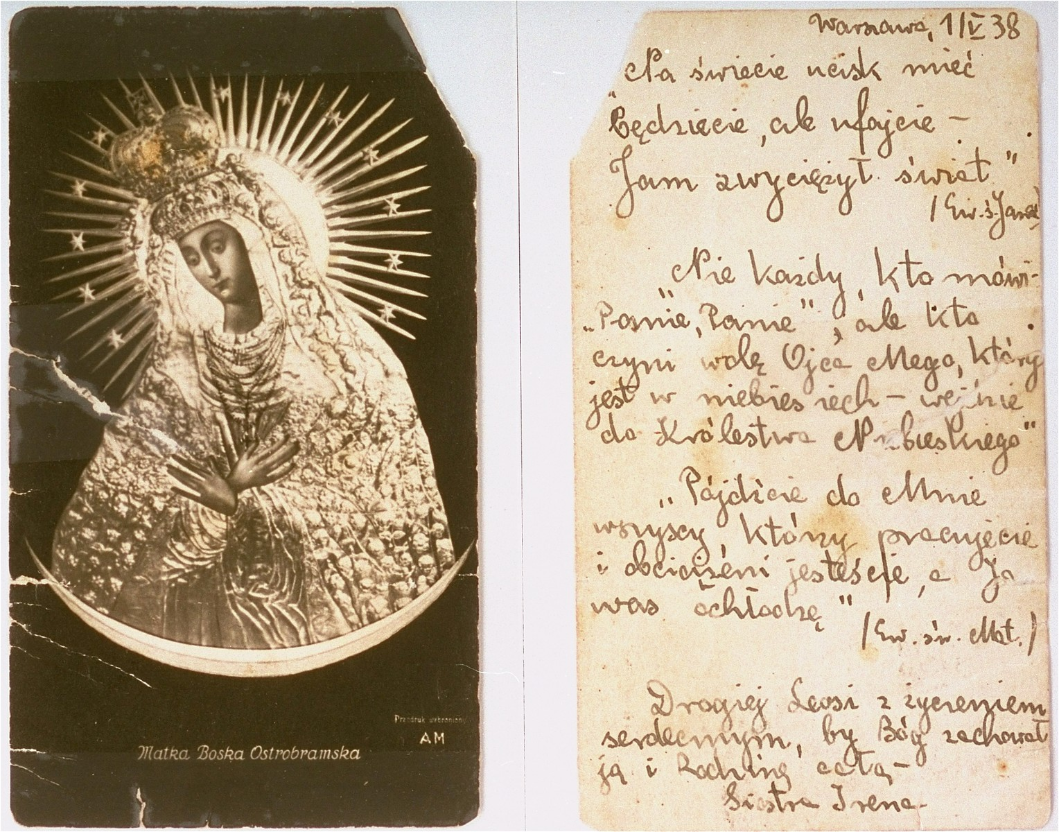 Two sides of a devotional card bearing the image of the Black Madonna of Czestochowa given to Lodzia Hamersztajn by Irena Adamowicz, a Polish woman closely associated with the Jewish underground.    The inscription on the card is dated May 1, 1938, but in fact was written in 1943.  The devotional card, which was carried by Lodzia during her years in hiding, was intended to give credence to the claim that she was a Polish Catholic.